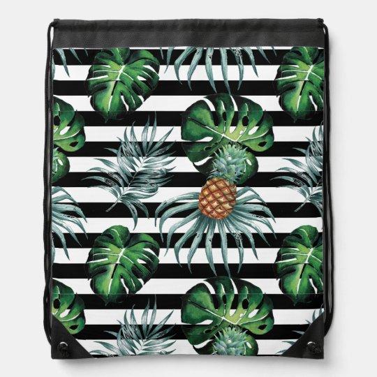 Tropische Ananas des Aquarells mit schwarzen Turnbeutel