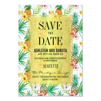 Tropische Ananas u. Hibiskus Save the Date 8,9 X 12,7 Cm Einladungskarte