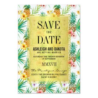 Tropische Ananas u. Hibiskus Save the Date Karte