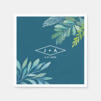 Tropische Aquarell-Laub-Hochzeit Papierserviette