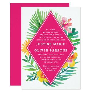 Tropische Aquarell-Pink-Hochzeits-Einladung 12,7 X 17,8 Cm Einladungskarte