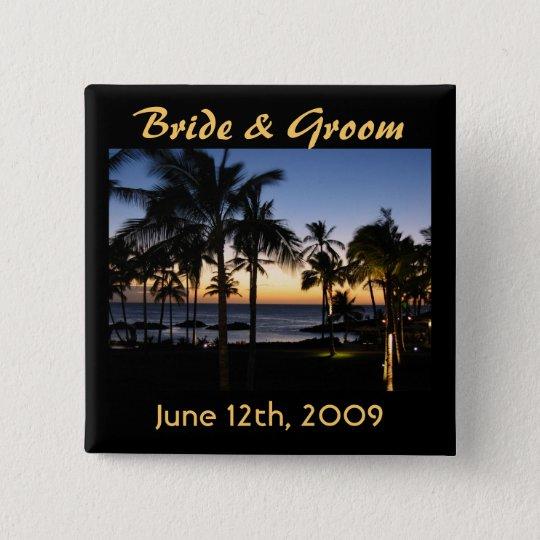 Tropische Bestimmungsort-Braut u. Bräutigam-Knopf Quadratischer Button 5,1 Cm