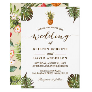Tropische Blätter-Ananas hawaiische Luau Hochzeit Karte