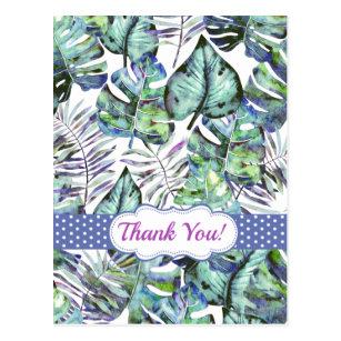 Tropische Blätter für Wasserfarben Danke, Postca Postkarte