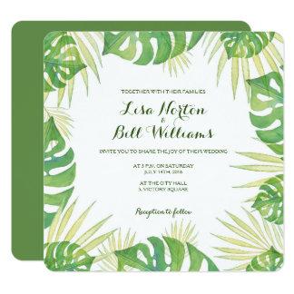 Tropische Blätter Watercolor-Hochzeitseinladung Karte