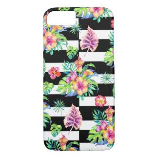 Tropische Blumen-Muster-u. Weiß-Streifen GR2 iPhone 7 Hülle