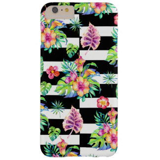 Tropische Blumen-Muster-u. Weiß-Streifen GR3 Barely There iPhone 6 Plus Hülle