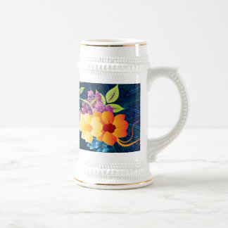 Tropische Blumen u. Reben Bierglas