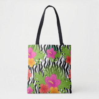 Tropische Blumen und Haut sind Tier. Sommer Tasche