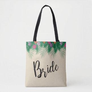 Tropische Blumen und Palmen-Niederlassungs-Braut Tasche