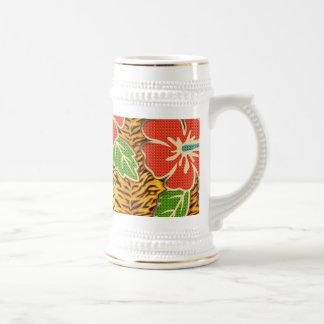 Tropische Blumen-wildes Tiger-Muster Bierglas