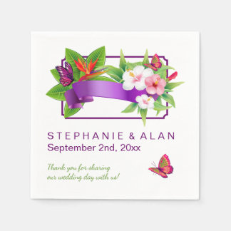 Tropische Blumenschmetterlings-Hochzeit Papierserviette
