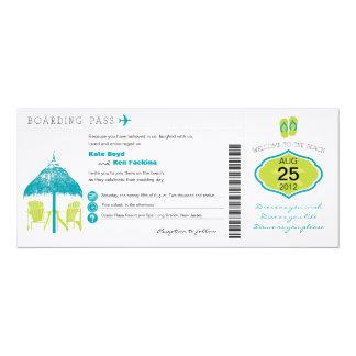 Tropische Boarding-Durchlauf-Hochzeits-Einladung 10,2 X 23,5 Cm Einladungskarte