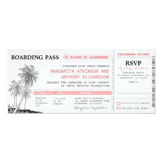 tropische Boardingdurchlauf-Hochzeitskarten mit 10,2 X 23,5 Cm Einladungskarte