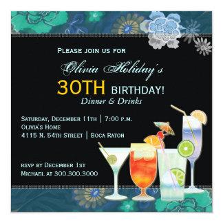 Tropische Cocktail-30. Geburtstags-Party Ankündigung