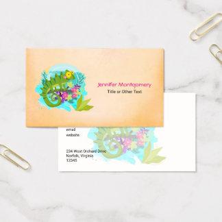 Tropische Eidechse mit Blumen Visitenkarte
