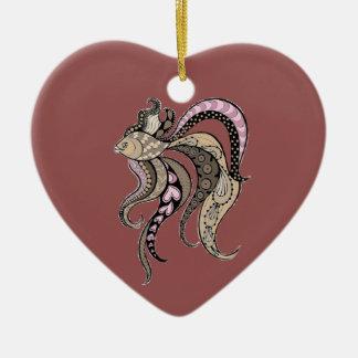 Tropische Fische Keramik Herz-Ornament
