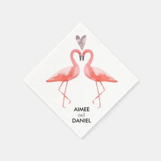 Tropische Hochzeit der Flamingos Papierservietten