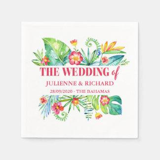 Tropische Hochzeit in Urlaubsorts-Gewohnheit Servietten