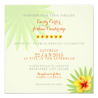Tropische Hochzeit themenorientiert Quadratische 13,3 Cm Einladungskarte