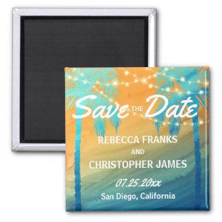 Tropische Hochzeits-Palme-Save the Date Magneten Quadratischer Magnet
