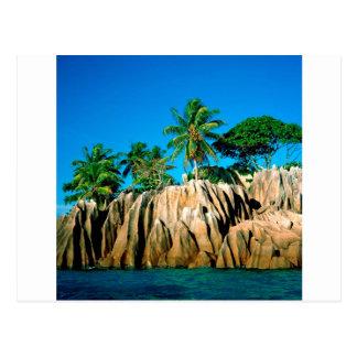 Tropische Insel gefundene Seychellen Postkarte