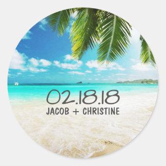 Tropische Insel-Strand-Hochzeits-Aufkleber Runder Aufkleber