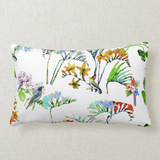 Tropische Inselwatercolor-Blumen u. Vögel Lendenkissen