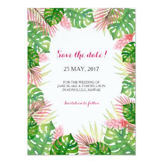 Tropische Karte Blätter Watercolor SAVE THE DATE