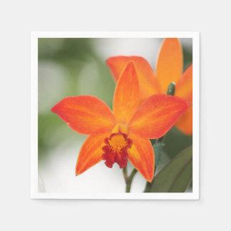 Tropische orange Orchideen-Papierserviette Servietten