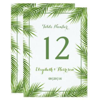 Tropische Palmblatt-Strand-Hochzeits-Tischnummer 12,7 X 17,8 Cm Einladungskarte