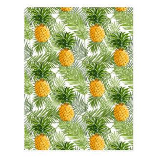 Tropische Palmblätter u. Ananas Postkarte