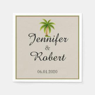 Tropische Palme-Hochzeit Papierservietten
