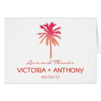 Tropische Palme-Strand-Hochzeit danken Ihnen Karte