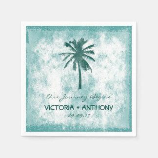Tropische Palme-Strand-Hochzeit Papierserviette