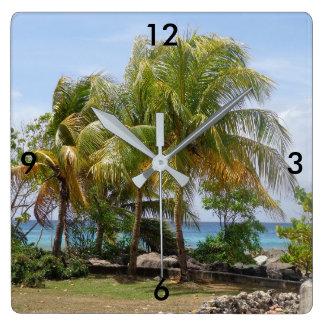 Tropische Palme-Uhr Quadratische Wanduhr
