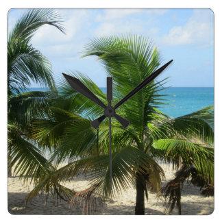 Tropische Palmen Quadratische Wanduhr
