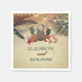 Tropische Palmen und Ananas-Strand-Hochzeit Servietten