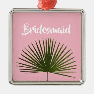 Tropische Palmwedel-Blatt-Hochzeit Silbernes Ornament