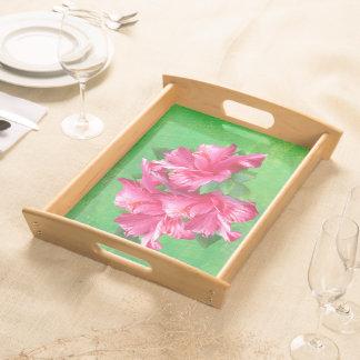 Tropische rosa Hibiskus-Blumen Tabletts