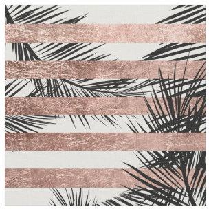 Tropische Rosengoldstreifen der Palmen moderne Stoff