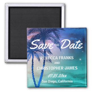 Tropische Save the Date Palmen der Magnet-  Quadratischer Magnet