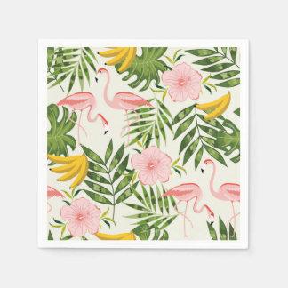 Tropische Sommer-Flamingo-Serviette Papierserviette