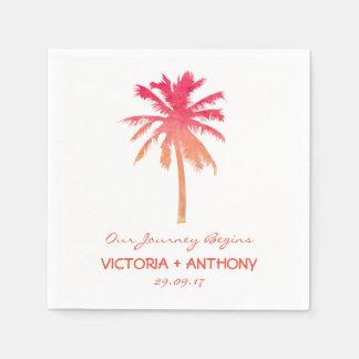 Tropische Sonnenuntergang-Palme-Strand-Hochzeit Serviette
