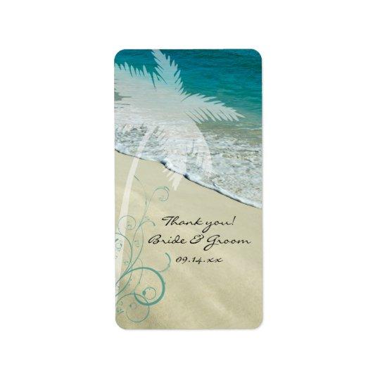Tropische Strand-Hochzeit danken Ihnen, Umbauten Adressetikett