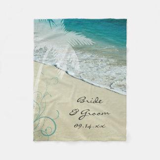 Tropische Strand-Hochzeit Fleecedecke