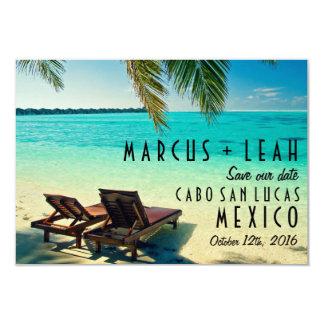 Tropische Strand-Hochzeit in Urlaubsort Save the 8,9 X 12,7 Cm Einladungskarte