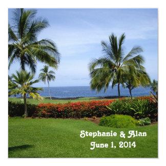 Tropische Strand-Hochzeits-Einladung Quadratische 13,3 Cm Einladungskarte