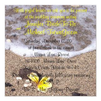 Tropische Strand-Hochzeits-Einladungen Quadratische 13,3 Cm Einladungskarte