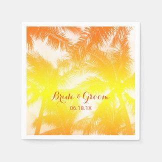 Tropische Strand-Hochzeits-goldene Palmen Serviette